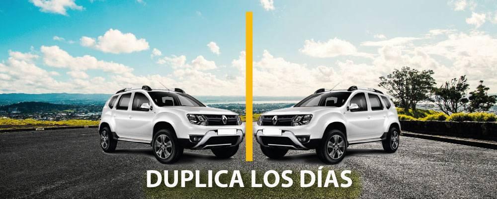 Paga entre 1 a 5 días y duplica tu reserva<br /><br /><strong>Solo aplica en as siguientes Ciudades: </strong>Armenia, Barranquilla, Bogotá, Bucaramanga, Cali, Cartagena, Cúcuta, Ibagué, Manizales, Medellín, Montería, Pereira, Santa Marta, Villavicencio<br /><br /><strong>Válido para los modelos: </strong>Chevrolet Captiva Aut, Renault Duster 4X4, Renault Koleos, Renault Logan 1, Renault Logan 2, Chevrolet Sail<br /><br /><strong>Válido para las siguientes rentadoras: </strong>Localiza<br /><br />Búsquedas realizadas entre <strong>09/05/2018 15:10 y 31/05/2018 23:59</strong> y reservas realizadas entre <strong>09/05/2018 y 31/05/2018</strong>
